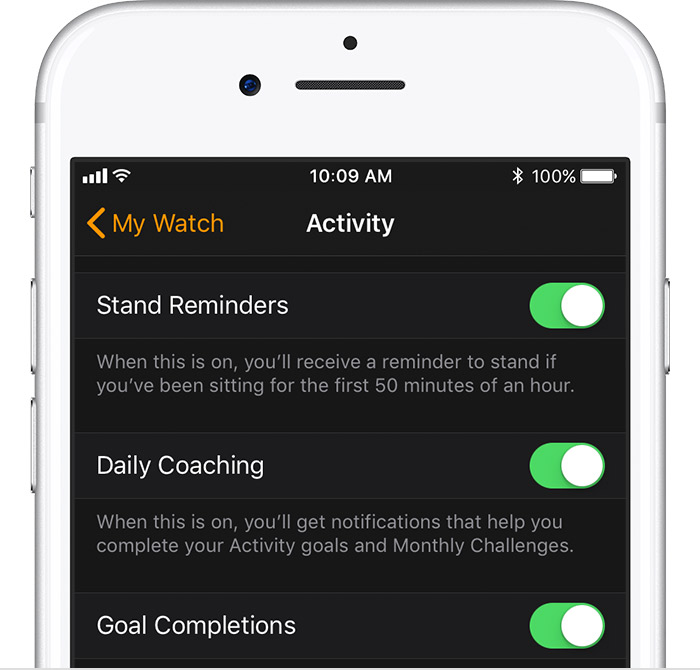 Activity screen on iPhone