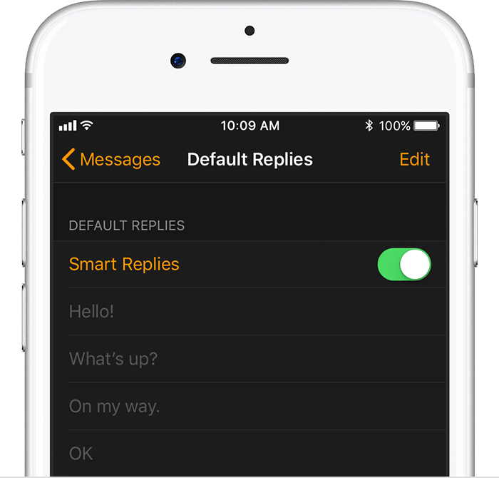 Default Replies screen