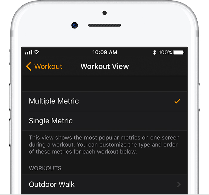 Workout View screen