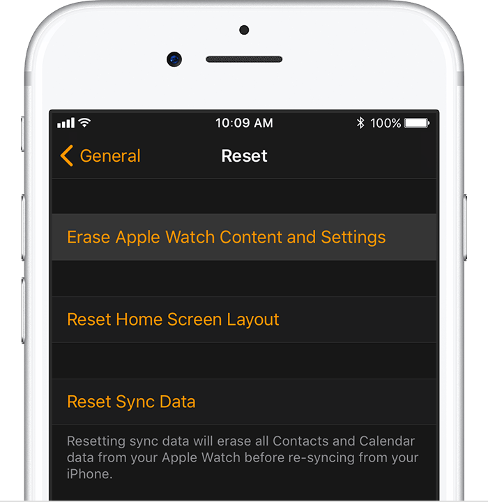 Reset screen on iPhone