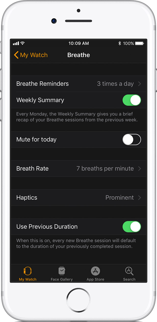 Breathe settings on iPhone