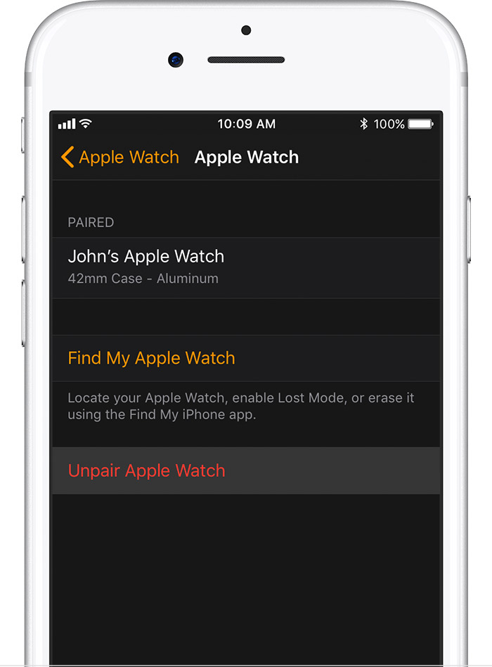 Apple Watch screen on iPhone