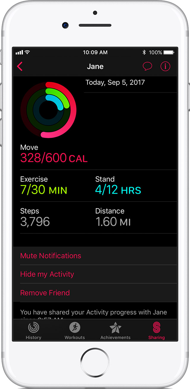 Jane's activity history on iPhone