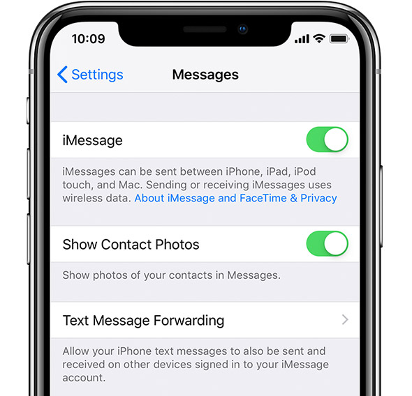 iMessage settings on iPhone.