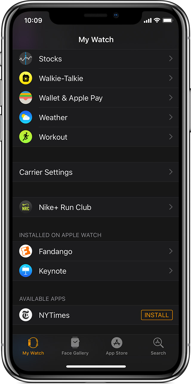 Available apps in the Apple Watch app.