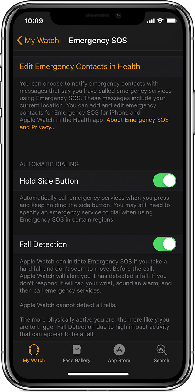 Emergency SOS options on your iPhone.