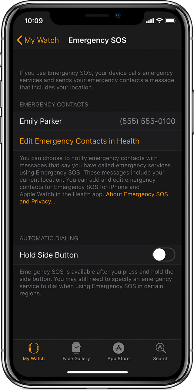 Emergency SOS screen on iPhone showing Emily Parker as an emergency contact.