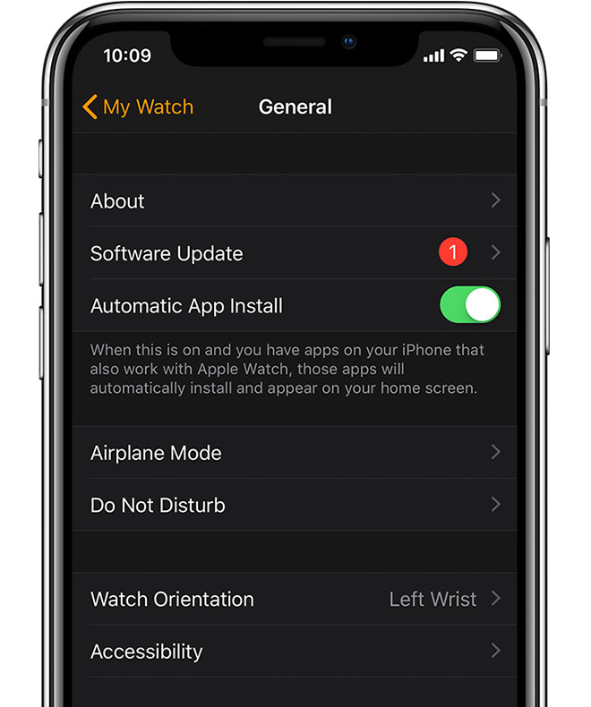 Apple Watch app showing one available software update.