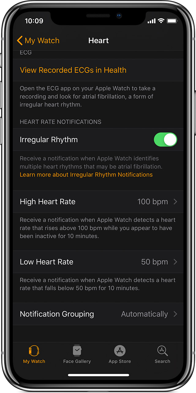 Heart rate notifications on your Apple Watch - Apple Support