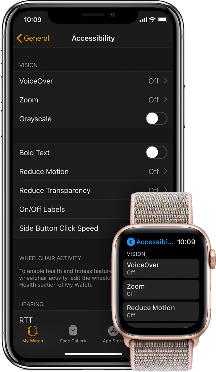 Accessibility settings on iPhone and Apple Watch