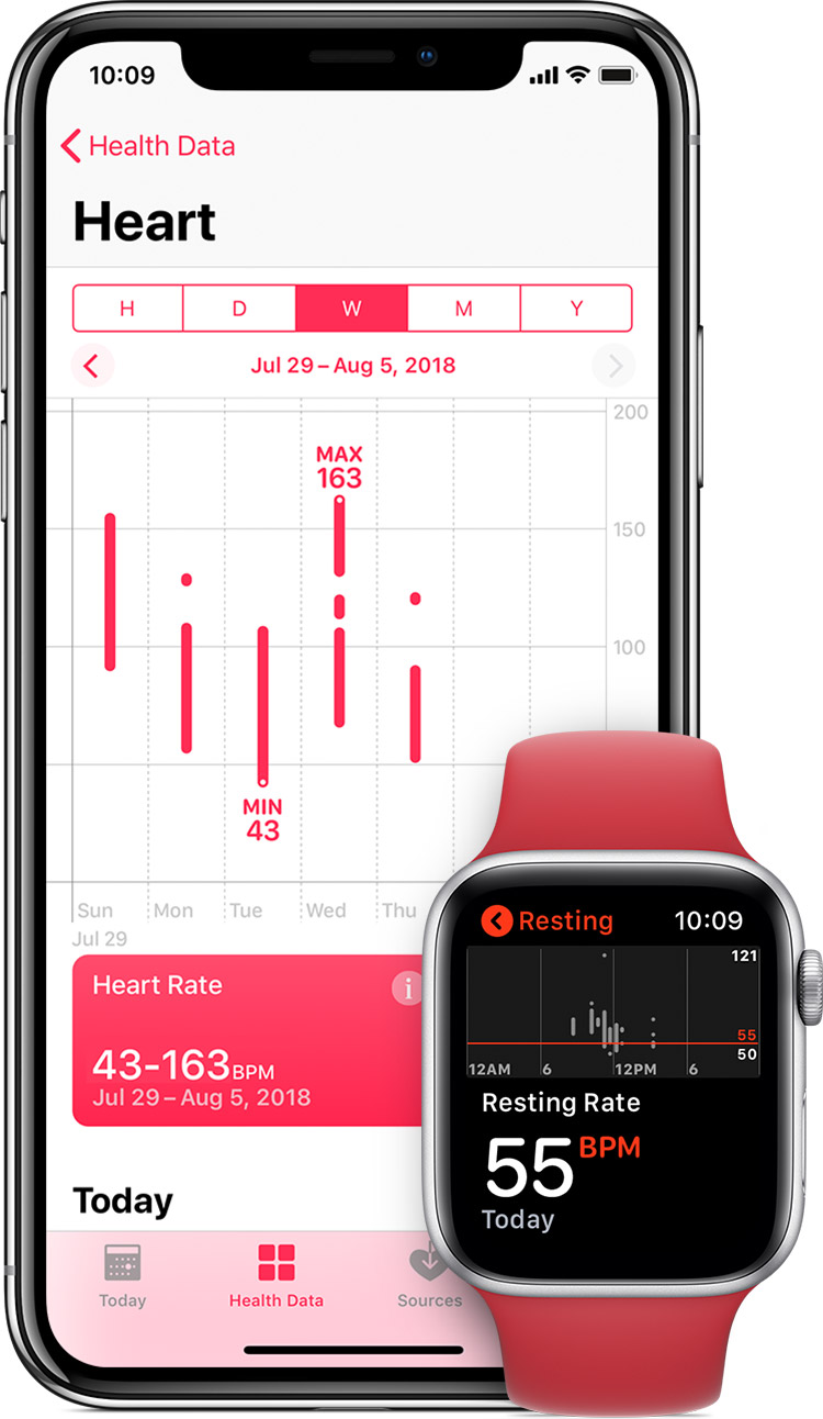Heart measurements in the Health app on iPhone and resting heart rate in app on Apple Watch.