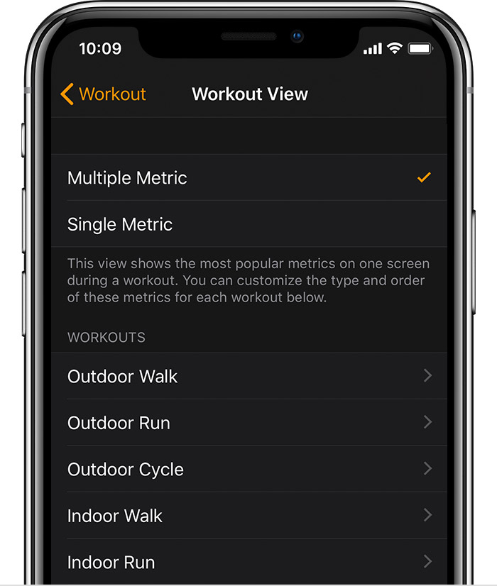 Workout View screen on iPhone.