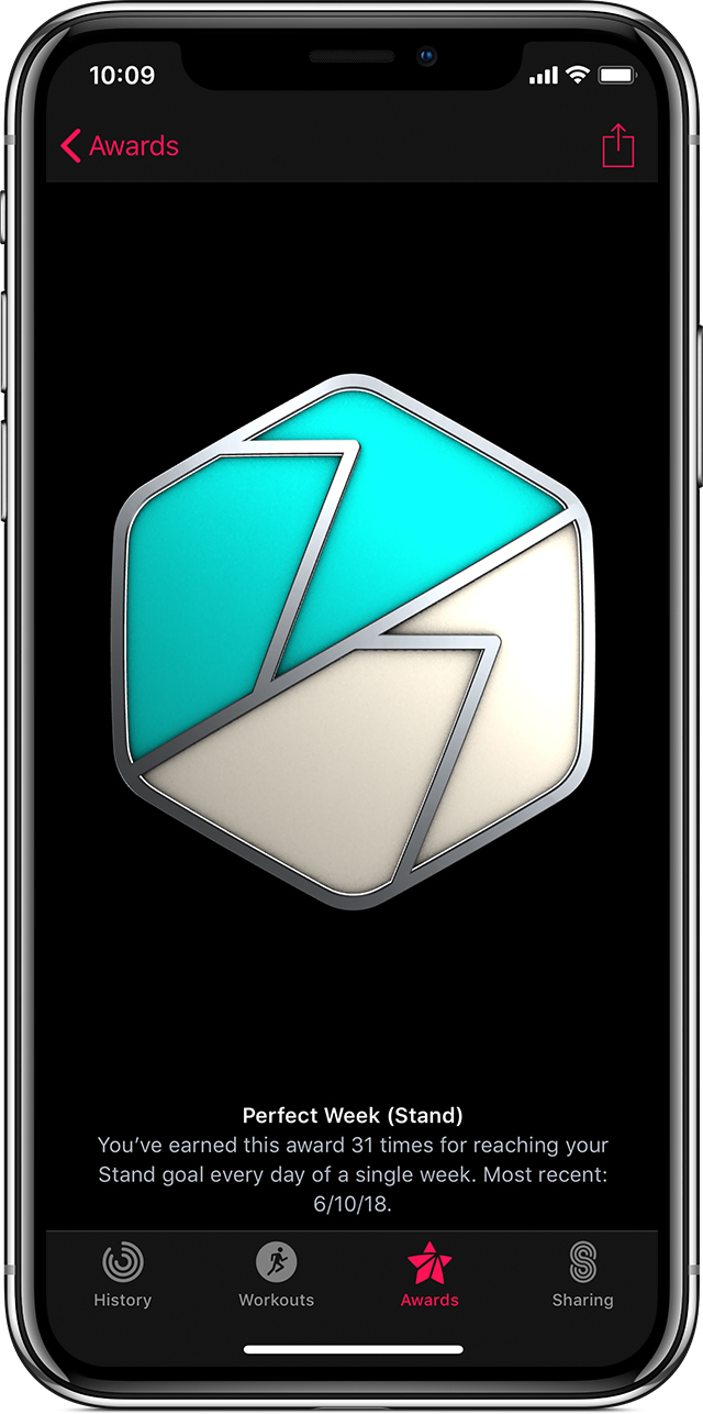 Perfect Week (Stand) award in the Activity app on iPhone X.