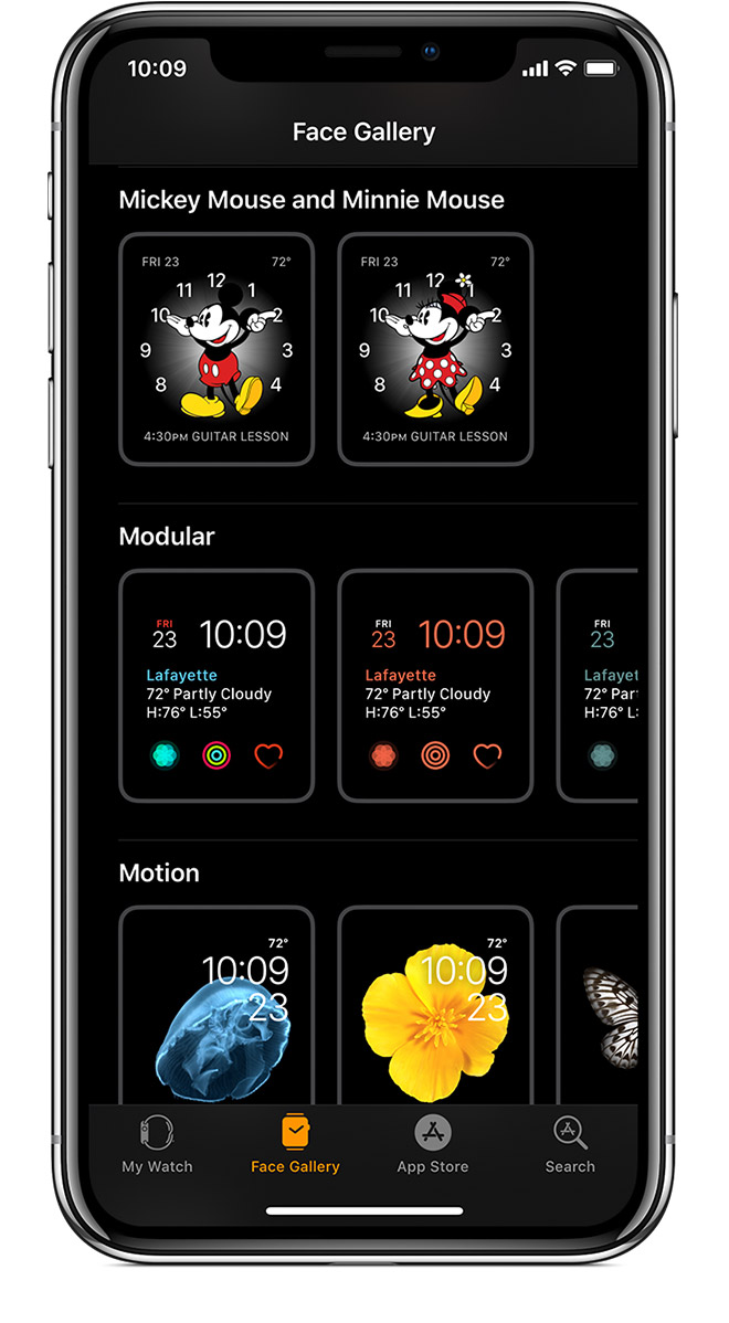 Face Gallery showing Mickie Mouse and Minnie Mouse options.