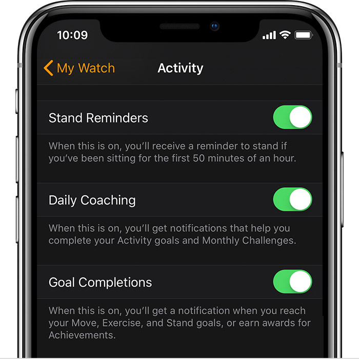 Activity Settings in the Watch app on iPhone.