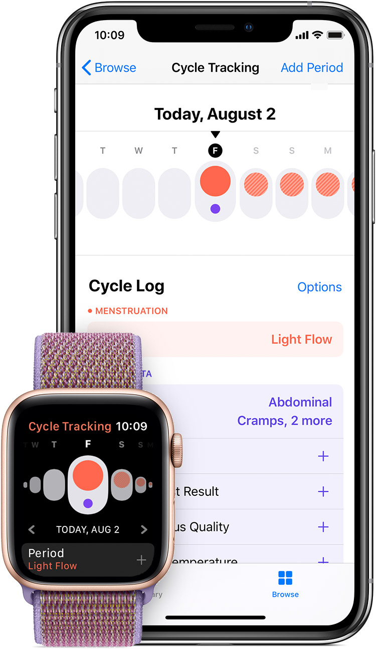 The Cycle Tracking app on your Apple Watch and the Health app on your iPhone