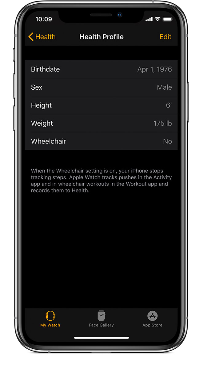Health Profile on iPhone showing Birthdate, Height, and more.