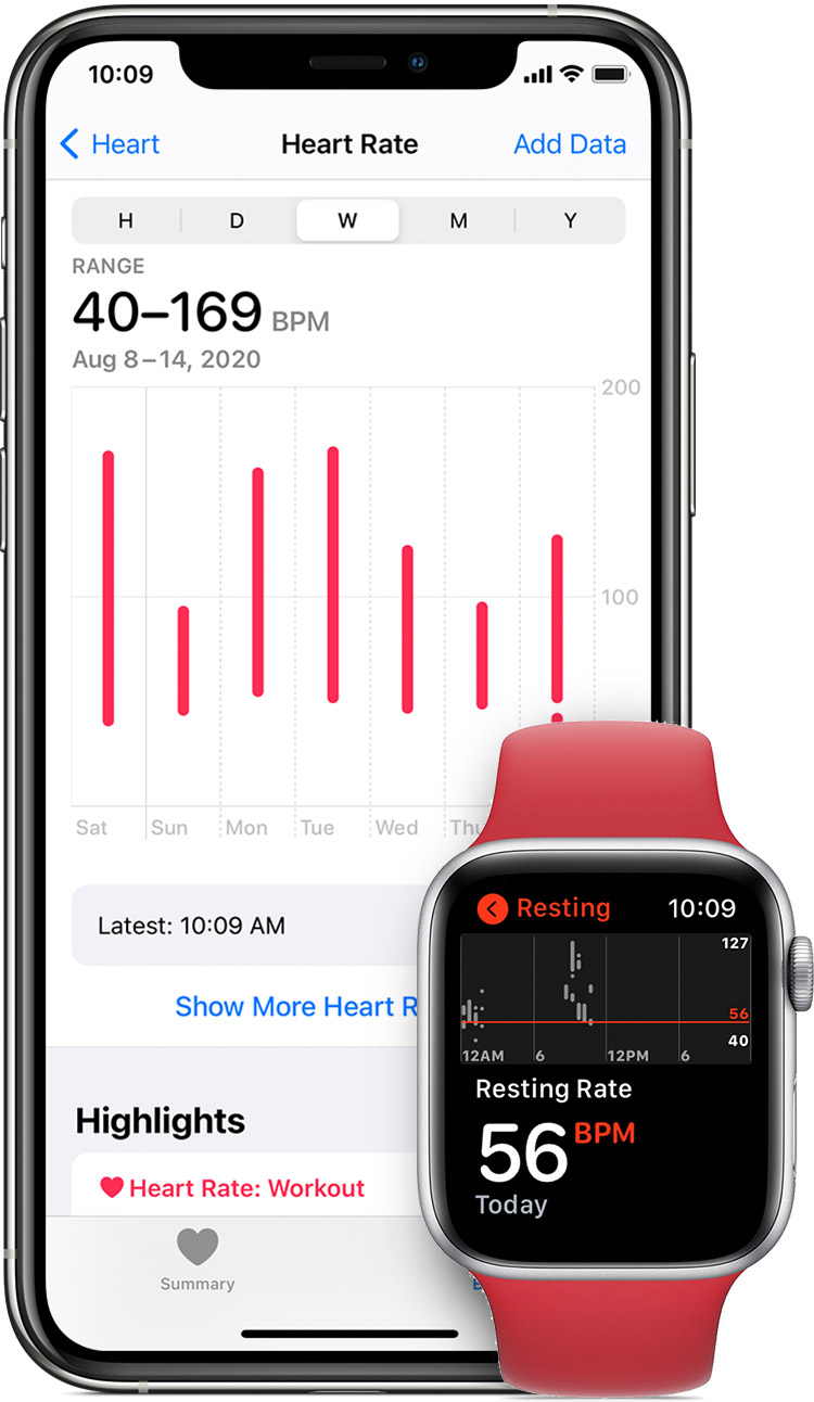 Heart measurements in the Health app on iPhone and resting heart rate in app on Apple Watch