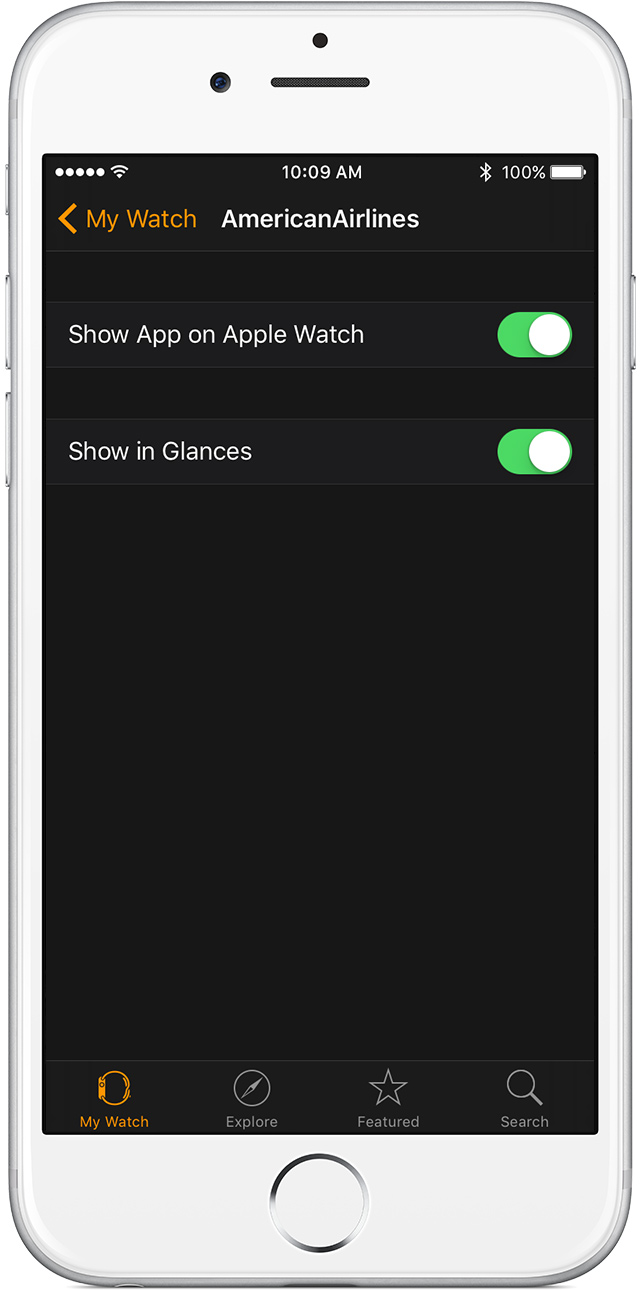 Edit an app's Glance setting from the Apple Watch app on iPhone