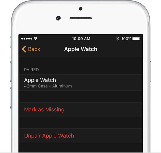 Unpair Apple Watch setting