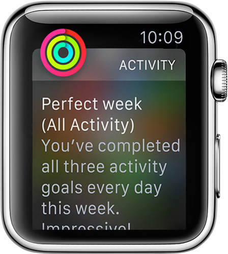 Complete all goals in Activity on Apple Watch for a perfect week