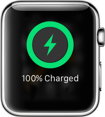 The green lightning bold icon means Apple Watch is charging