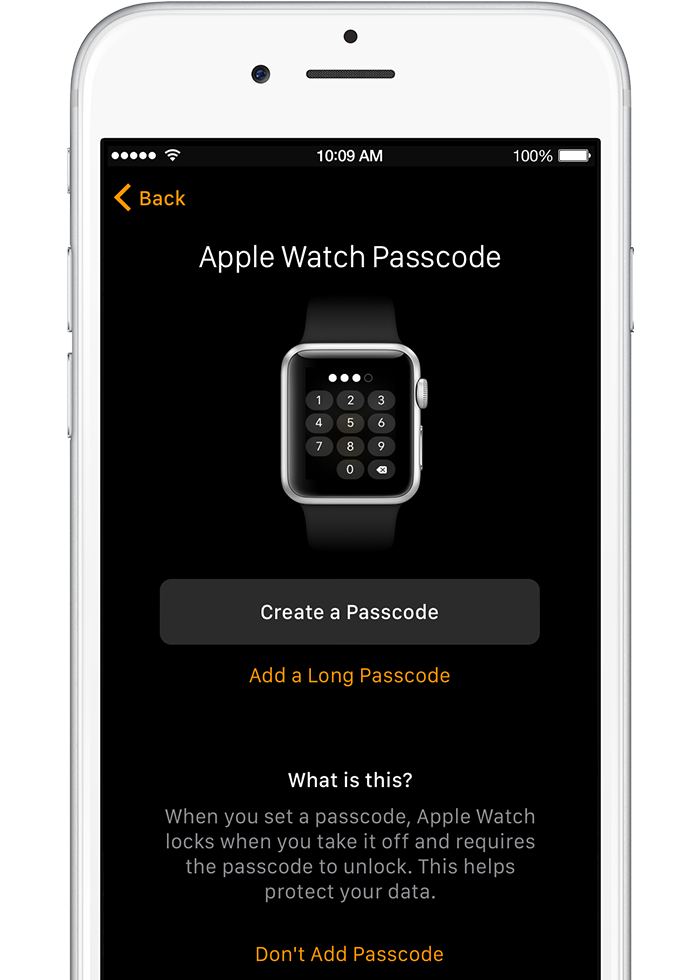 Make a passcode for Apple Watch during set up