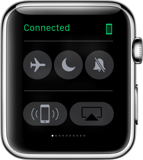 A green Connected icon on your Apple Watch display means it's connected to your paired iPhone