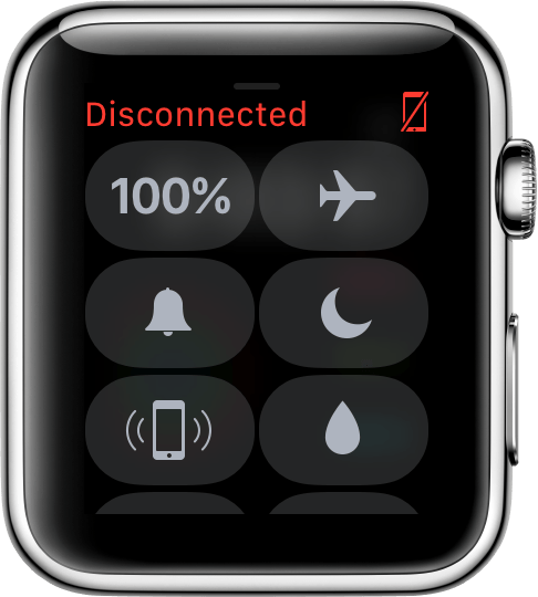 Disconnected icon on watch face