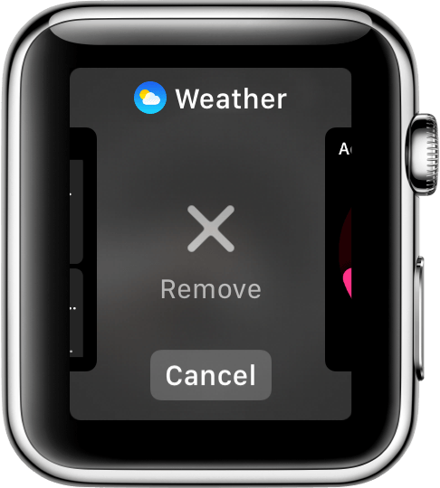 Remove option on Apple Watch
