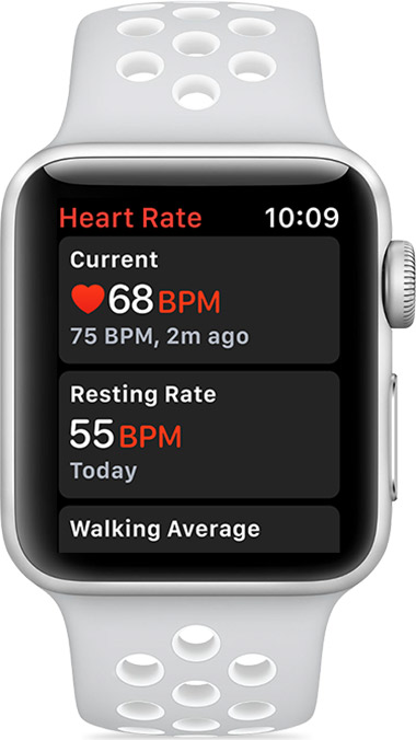 Current heart rate of 68 BPM