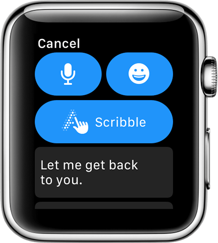 Apple Watch screen showing reply options