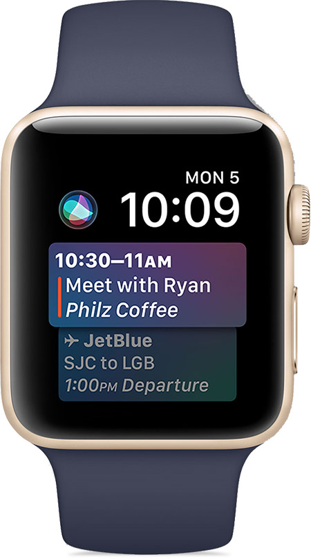 Calendar even to Meet with Ryan showing on watch face