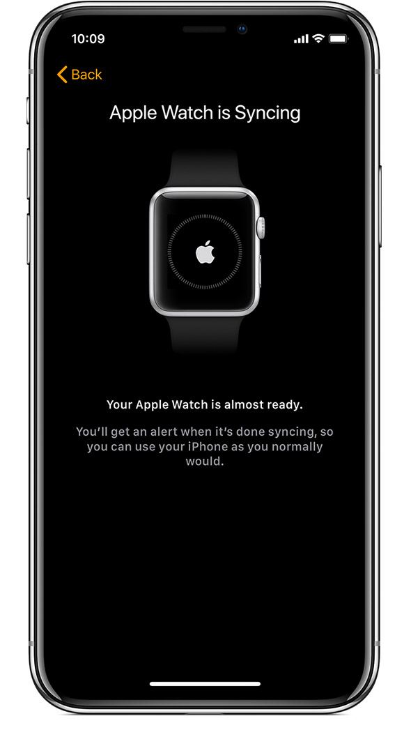 Apple Watch is Syncing screen on iPhone.