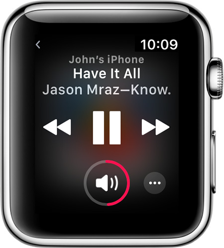 Apple Watch with Now Playing open