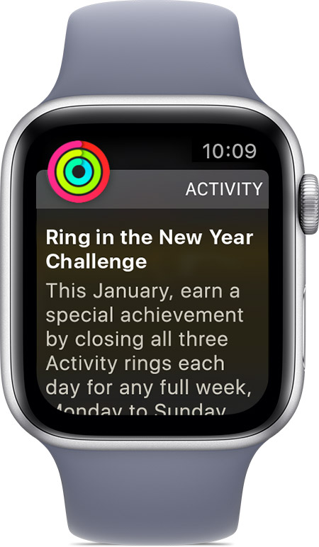 Ring in the New Year Challenge on Apple Watch.
