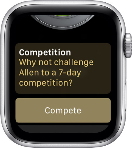 Message to invite Allen to a competition from your Apple Watch.