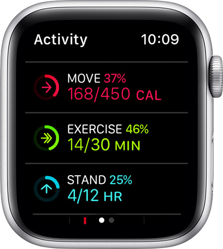 Move, Exercise, and Stand goals on Apple Watch.