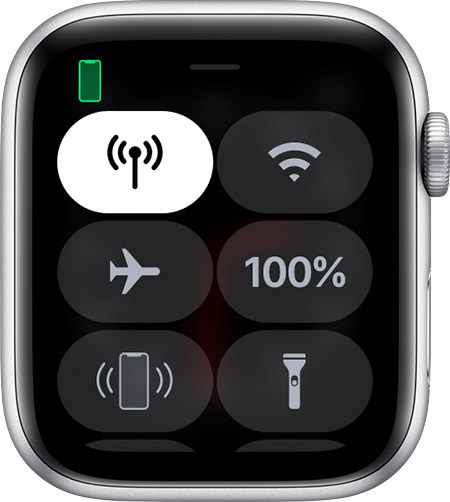 Control Center on Apple Watch.