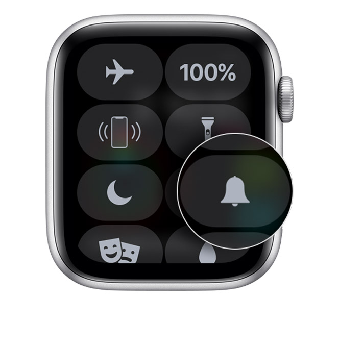 Control Center on Apple Watch showing Silent Mode.