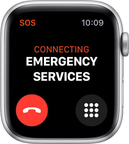 Connecting Emergency Services screen on Apple Watch