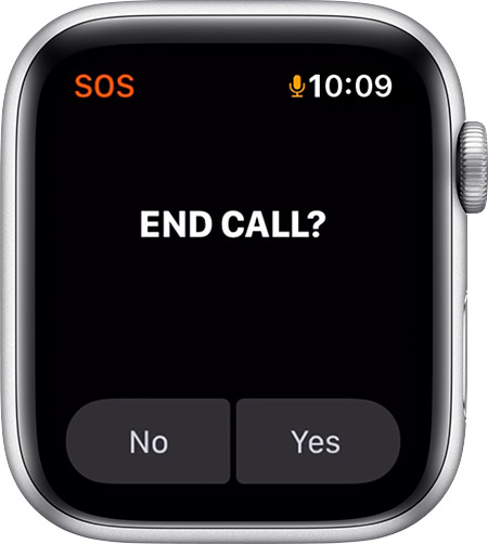 Option Raccrocher sur l'Apple Watch.