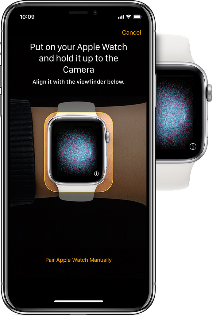 """Hold Apple Watch up to the camera"" message on iPhone and pairing animation."