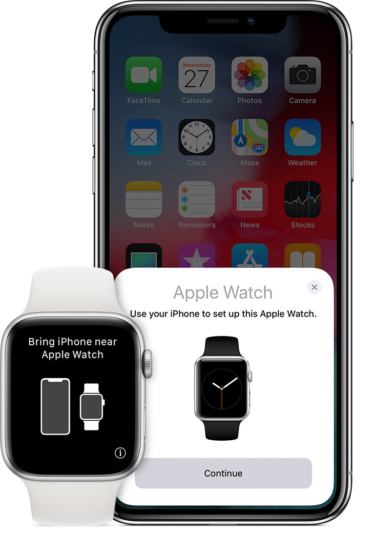 """Bring iPhone near Apple Watch"" message on watch."