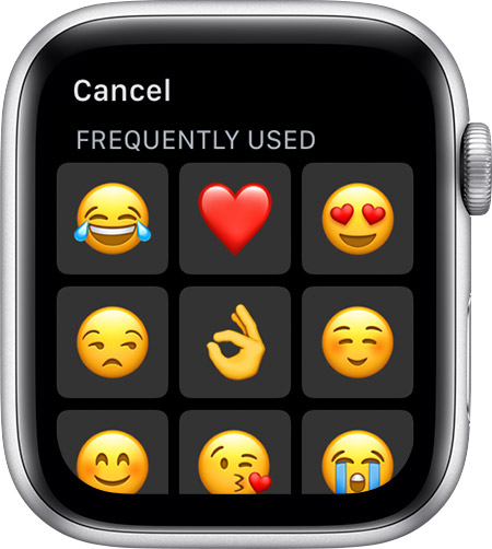 Frequently used emojis, like the heart and ok.