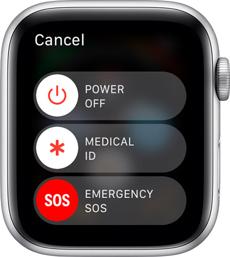 Emergency SOS slider on Apple Watch.