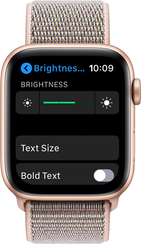 Brightness & Text Size screen
