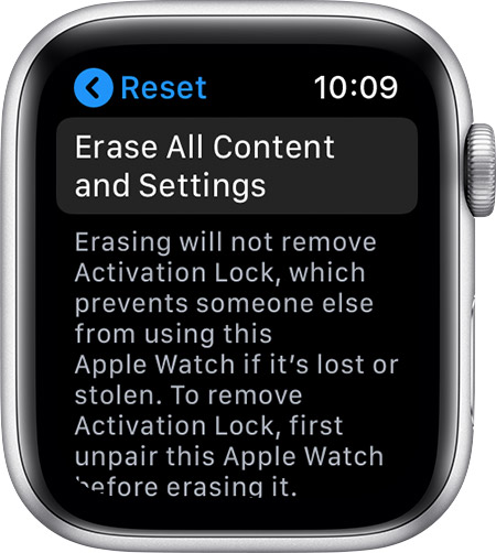 Reset screen on Apple Watch.