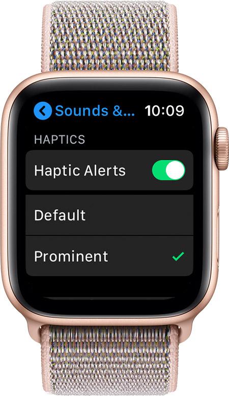 Sounds & Haptics screen