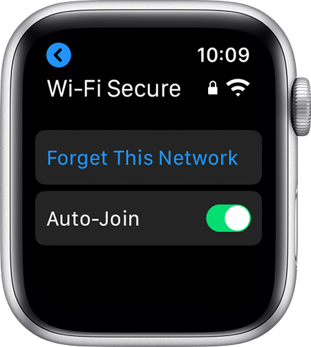 Option to Forget This Network on Apple Watch